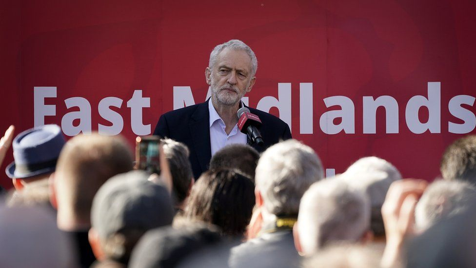 Corbyn speaks during a rally at Voluntary Action Broxtowe on February 23, 2019 in Beeston, England.