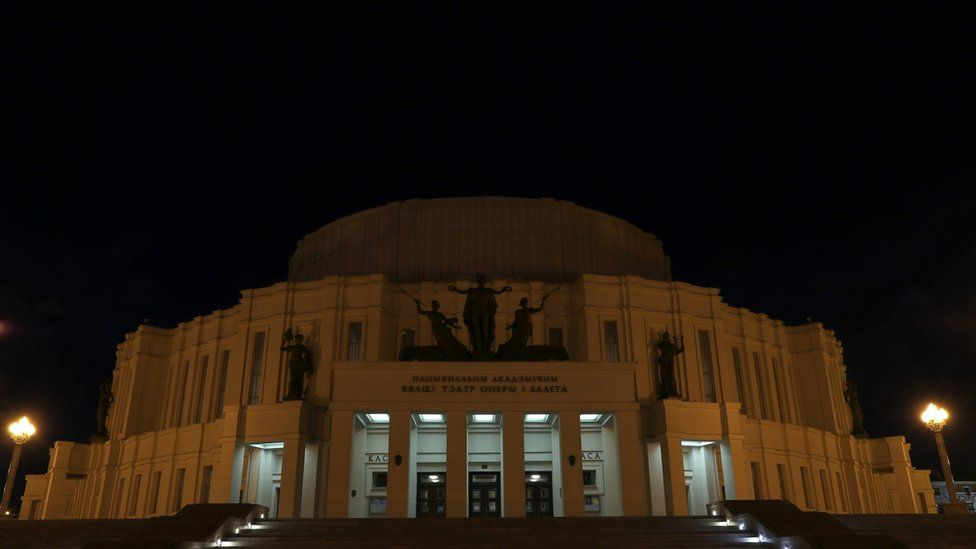 "The Bolshoi Opera and Ballet Theater of Belarus is seen with lights off during the ""Earth Hour"" in Minsk, Belarus"