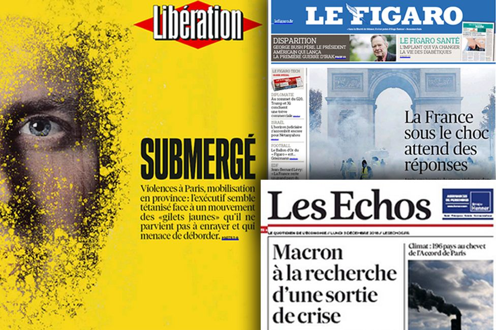 Composite image of French newspapers