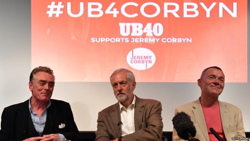 Jeremy Corbyn with two members of the reggae band UB40