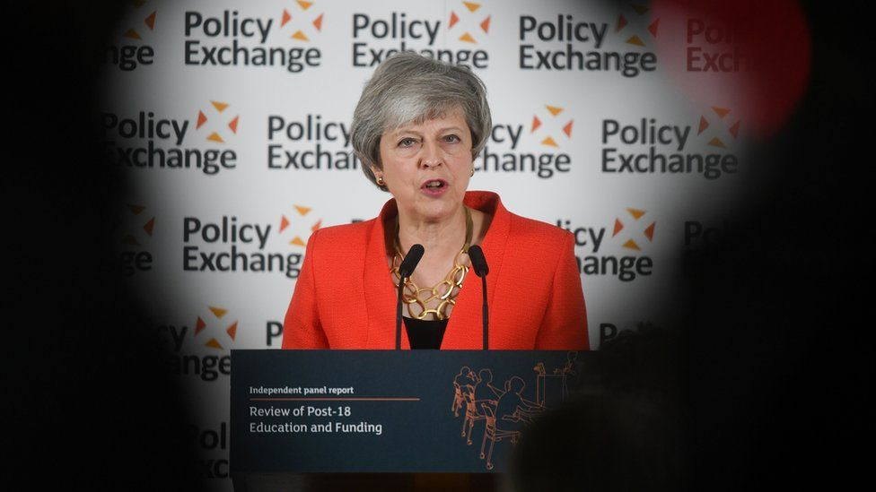 UK Prime Minister Theresa May gives a speech