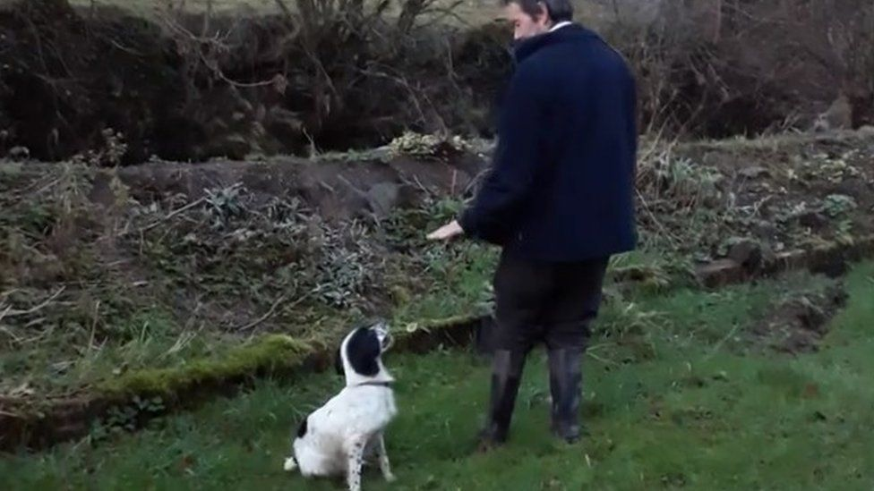 Belle with Wyn Price back home in Dyfynnog