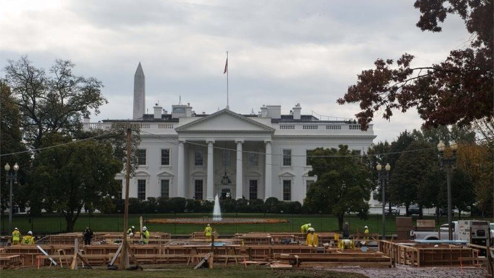 Construction is underway in front of the White House in Washington, DC, on November 9, 2016.