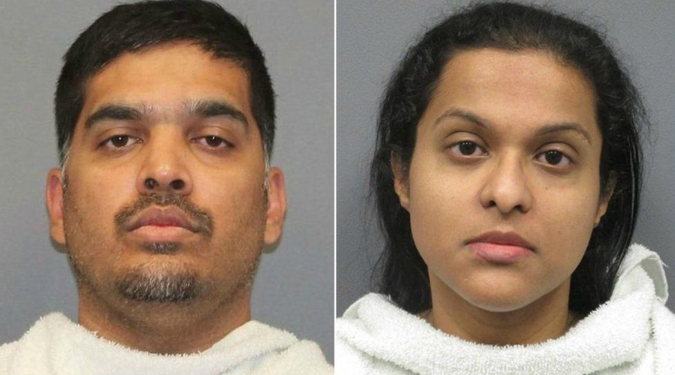 Side-by-side mugshots of Wesley and Sini Mathews, in front of neutral grey background