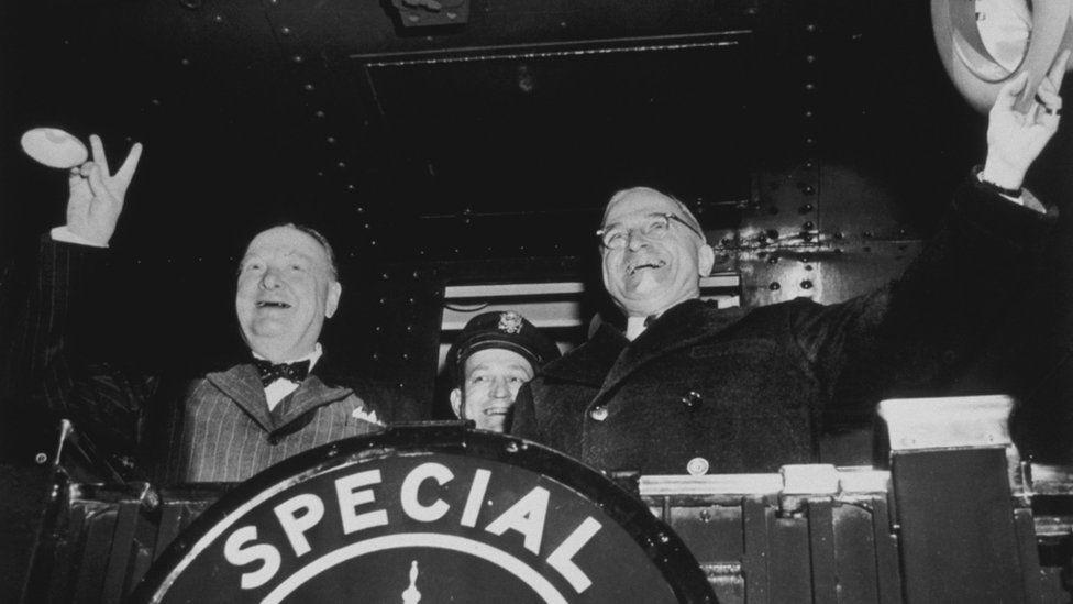 Winston Churchill with US President Harry Truman., leaving for Fulton, Missouri, where Churchill made his famous 'Iron Curtain' speech, 1946