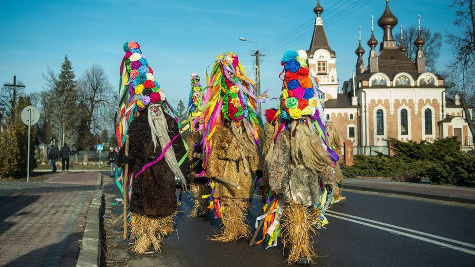 """""""Bearded Men"""" parade in the streets of Slawatycze, in Lublin region, Poland, 31 December 2016. """"Bearded Men"""" is an old local tradition, passed from generation to generation. During last three days of December citizens of Slawatycze disguised in special costumes, say goodbye to the Old Year and make wishes for the New Year."""