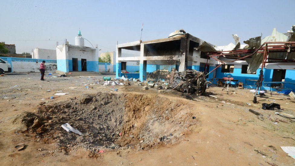 A crater caused by a Saudi-led coalition air strike is seen at the yard of a hospital operated by Medecins Sans Frontieres in the Abs district of Hajja province, Yemen August 16, 2016.