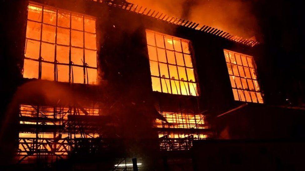 Fire in art school