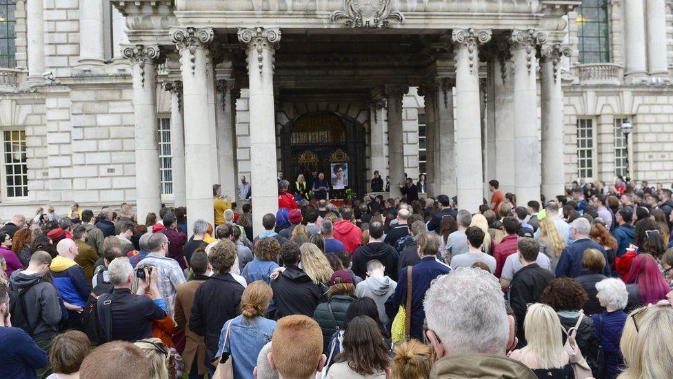 People attend City Hall vigil to Lyra McKee