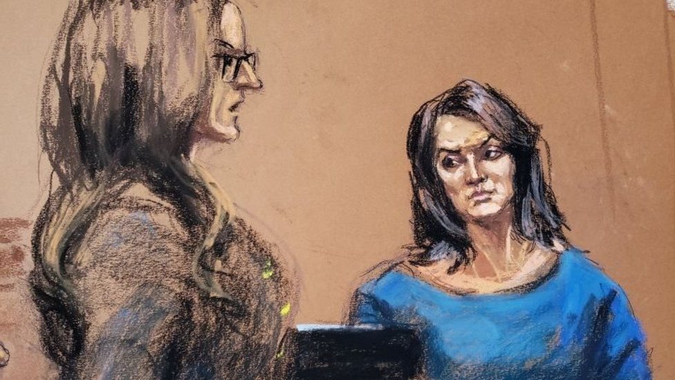 Sketch shows Actor Annabella Sciorra being cross-examined by lawyer Donna Rotunno