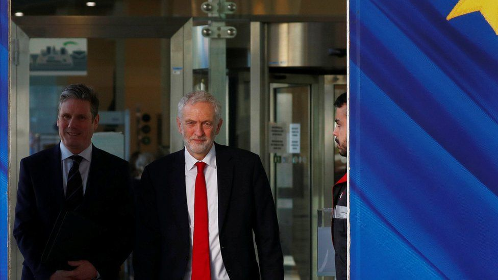 Jeremy Corbyn and Labour Party's Shadow Secretary of State for Departing the European Union Keir Starmer leave a meeting with European Union Chief Brexit Negotiator Michel Barnier in February
