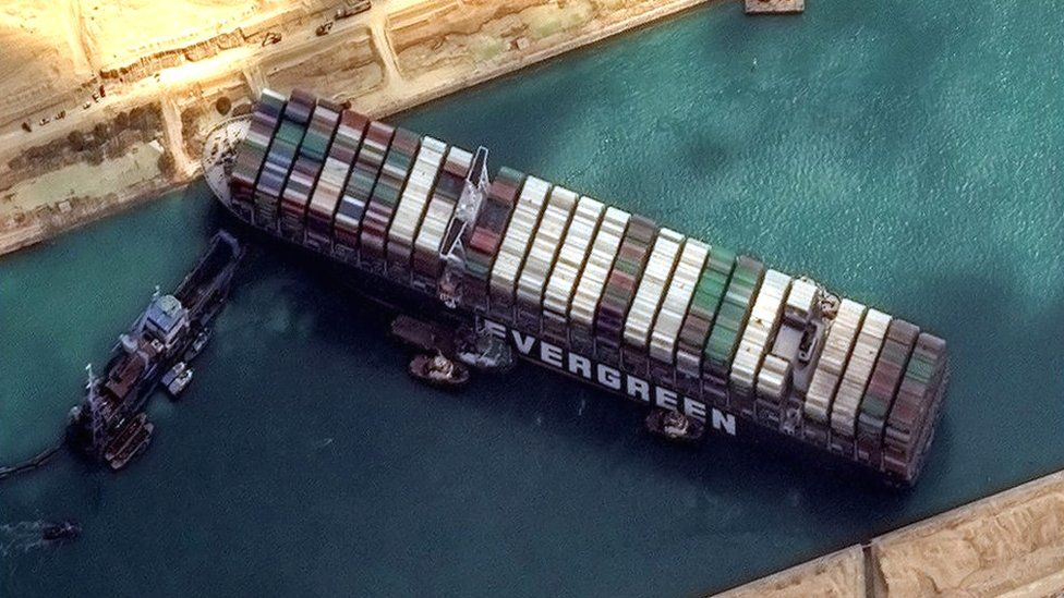 The Ever Given ship, viewed from satellite, remains stuck in the Suez Canal