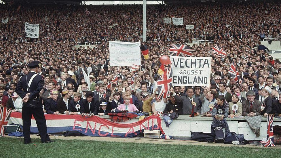 England and West Germany supporters at the 1966 World Cup final