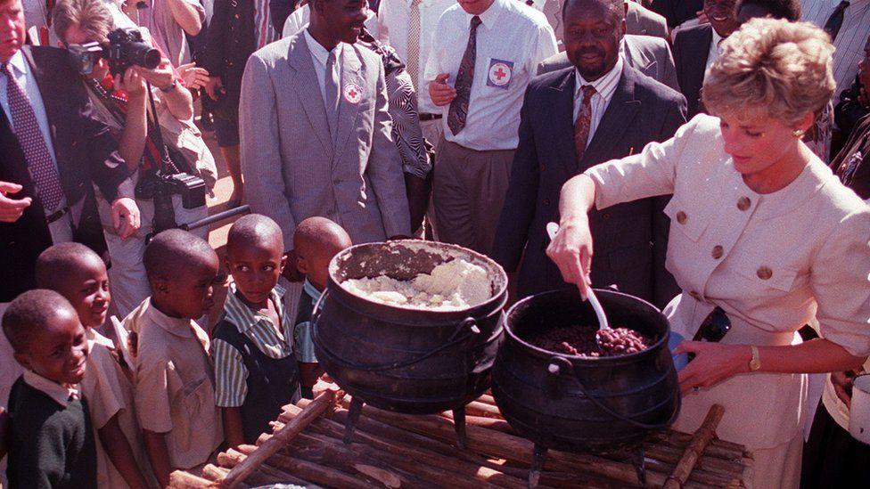 Princess Diana at Nemazuva Primary School in Zimbabwe