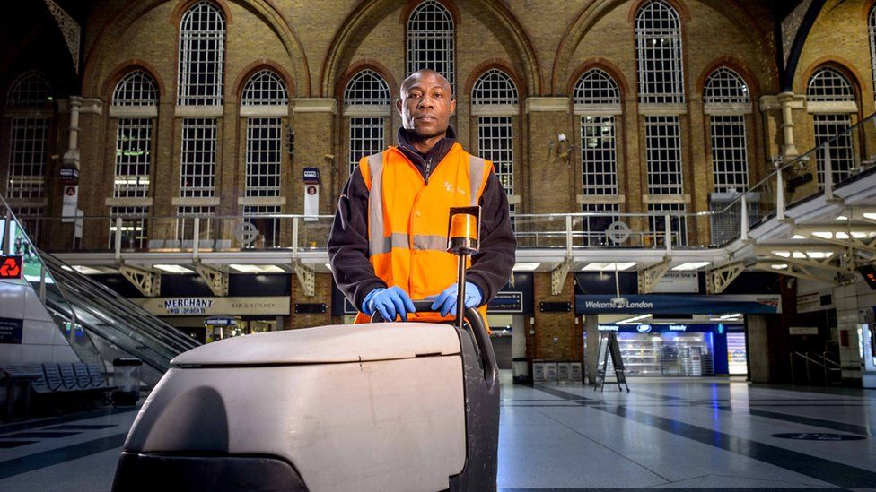 A cleaner at Liverpool Street station