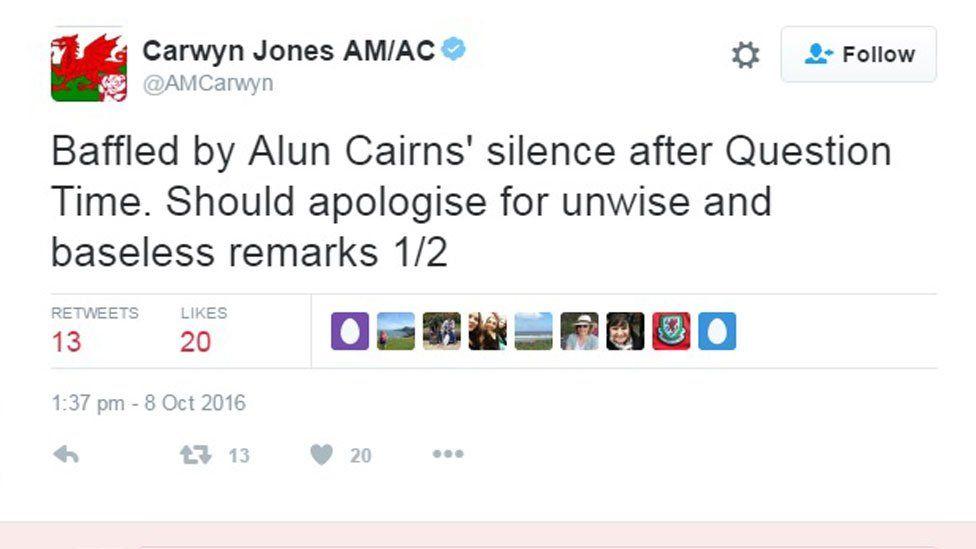 Carwyn Jones' tweet