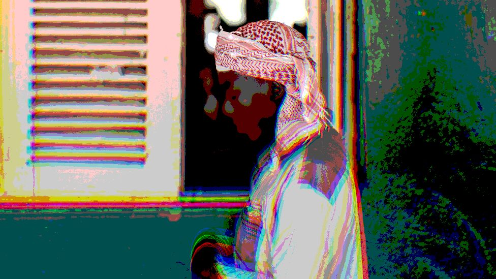 A Muslim man praying in Mozambique with artistic photoshop design