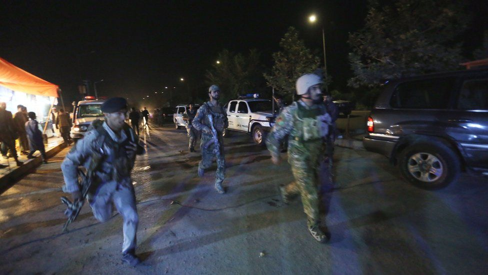 Afghan security forces rush to respond to a Taliban attack on the campus of the American University in the Afghan capital Kabul on Wednesday, 24 Aug 2016