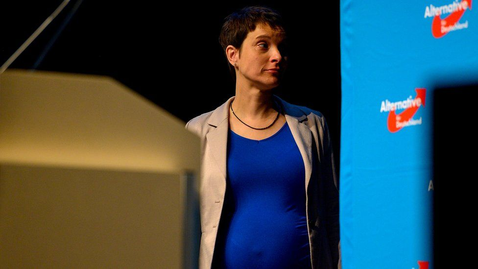 AfD co-leader Frauke Petry on stage at an AfD conference