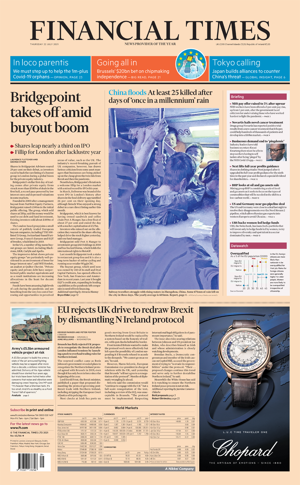 Financial Times front page 22/07/21