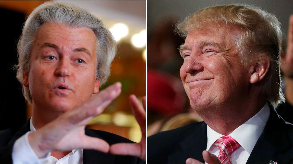 Geert Wilders, left, and Donald Trump