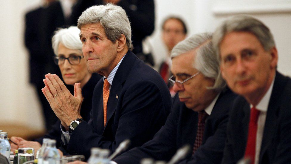 US Secretary of State John Kerry meets the foreign ministers of Germany, France, China, Britain, Russia and the European Union during talks over the Iran nuclear deal