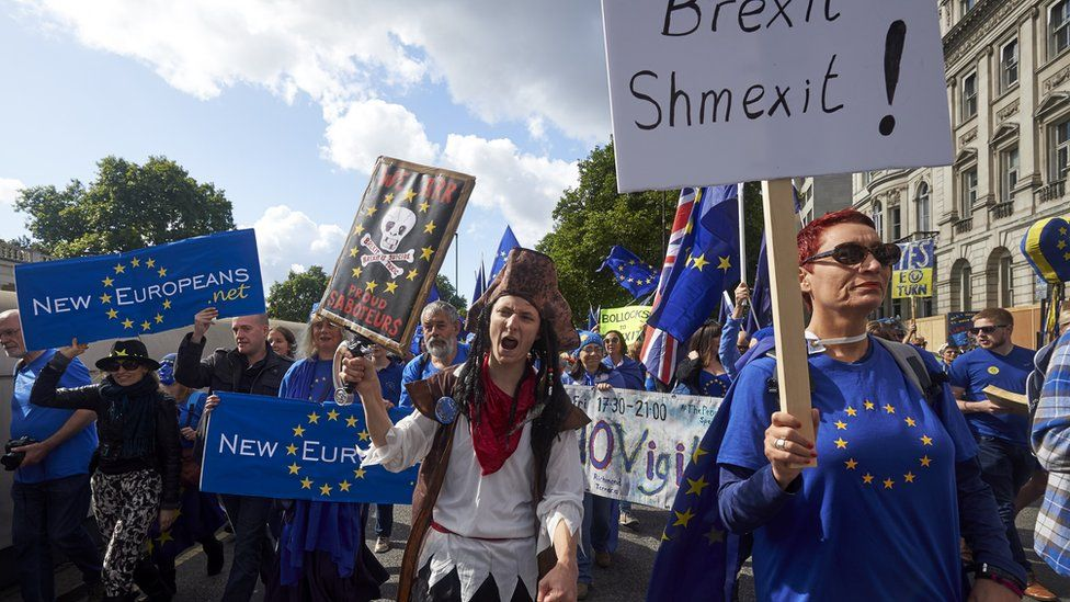 Pro-EU demonstrators march through central London during the People's March for Europe against Brexit on September 9, 2017. Thousands joined the pro-EU march calling on politicians to 'unite, rethink and reject Brexit'.