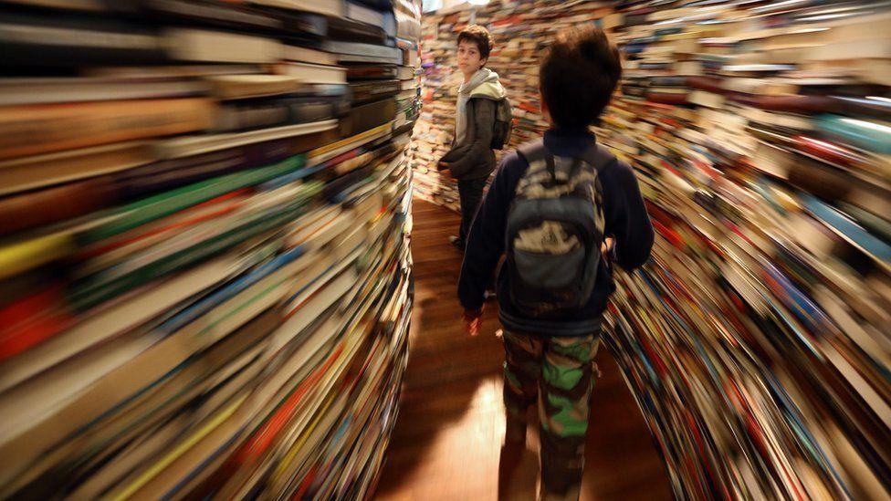 Boys in books maze