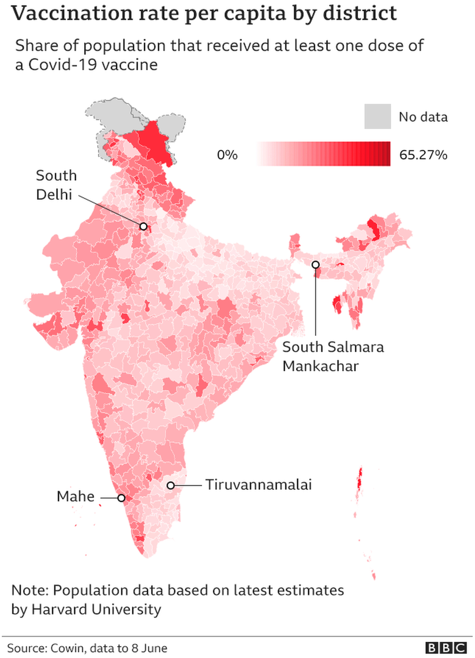 A map showing India's per capita vaccine rates by district
