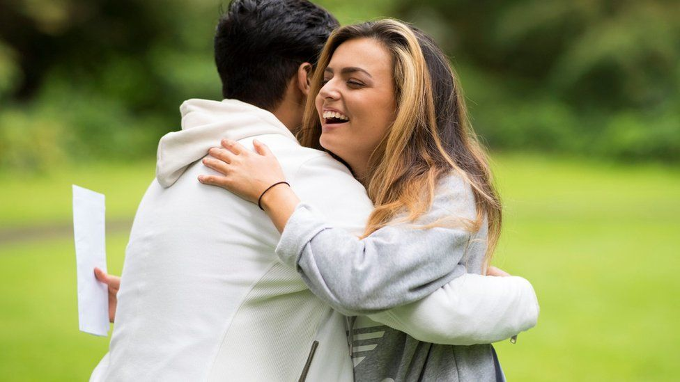 Vicky Baker and Abu Latif celebrate their A/S Level results at Ffynone House School in Swansea