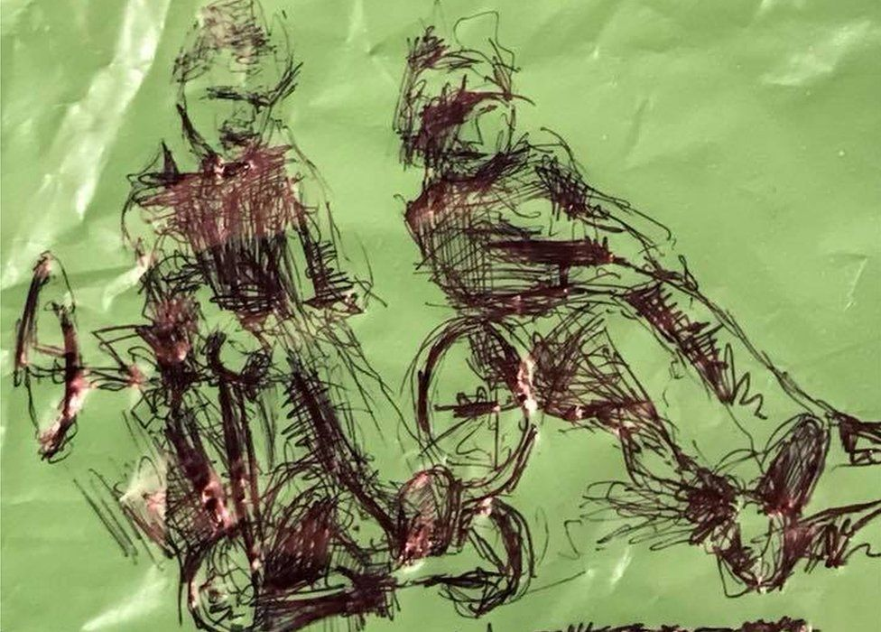 Image of gambo racing drawn by Bagsy on a carrier bag