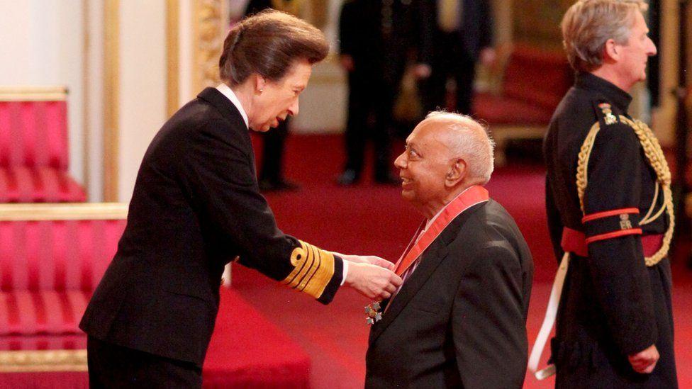 Dr Hari Shukla was made a CBE by the Princess Royal at Buckingham Palace