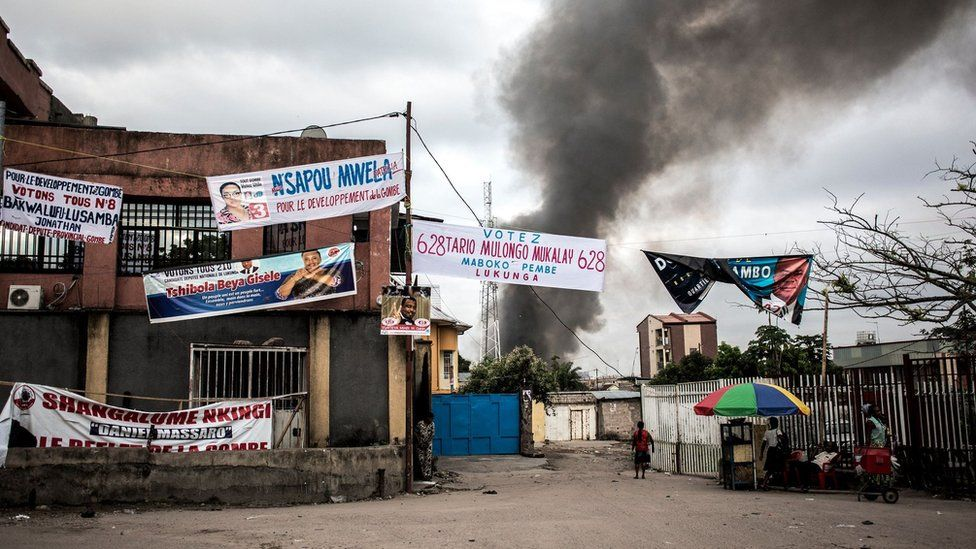 A fire at a electoral commission warehouse in Kinshasa.
