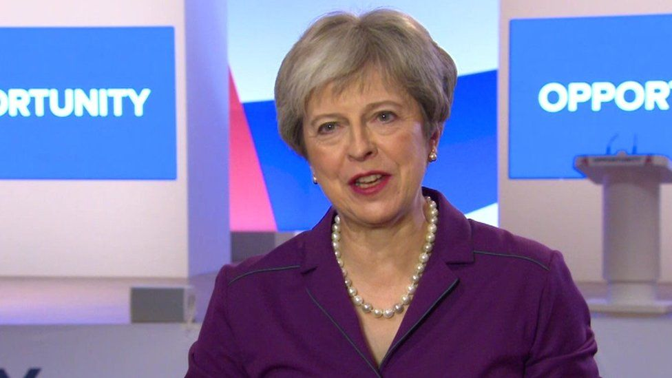 Theresa May speaking from Conservative Party conference