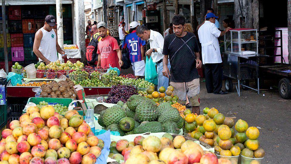 A fruit market in Brazil