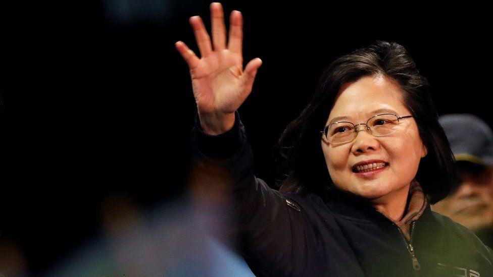 Tsai Ing-wen waving to supporters
