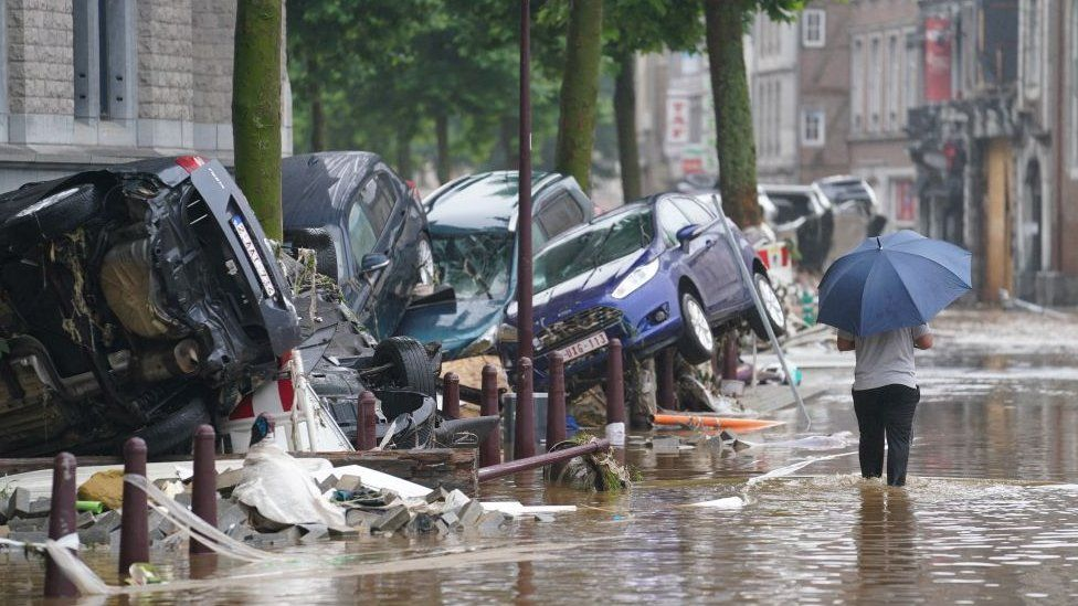 Flooding in the Belgian city of Verviers, July 2021
