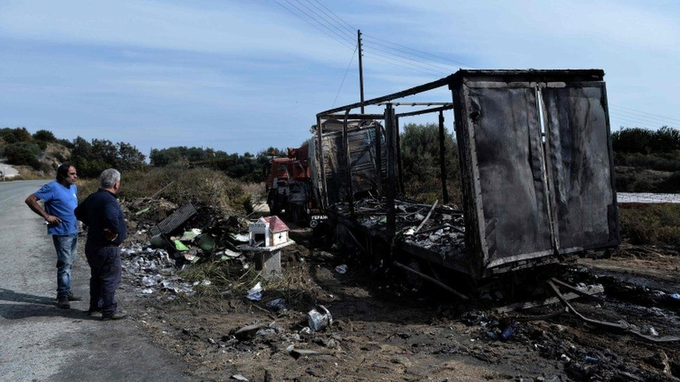 The lorry was also engulfed in flames but the driver escaped