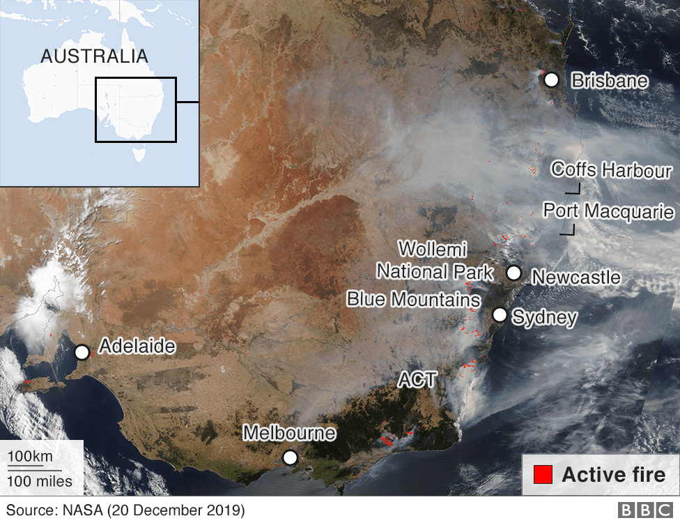 Satellite image showing smoke from fires in eastern Australia