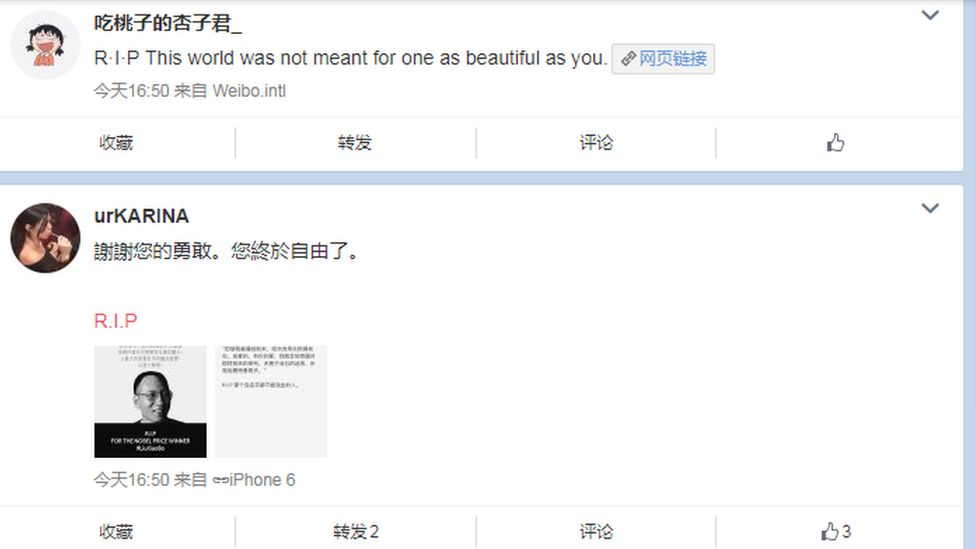 Thousands of Weibo users have posted tributes