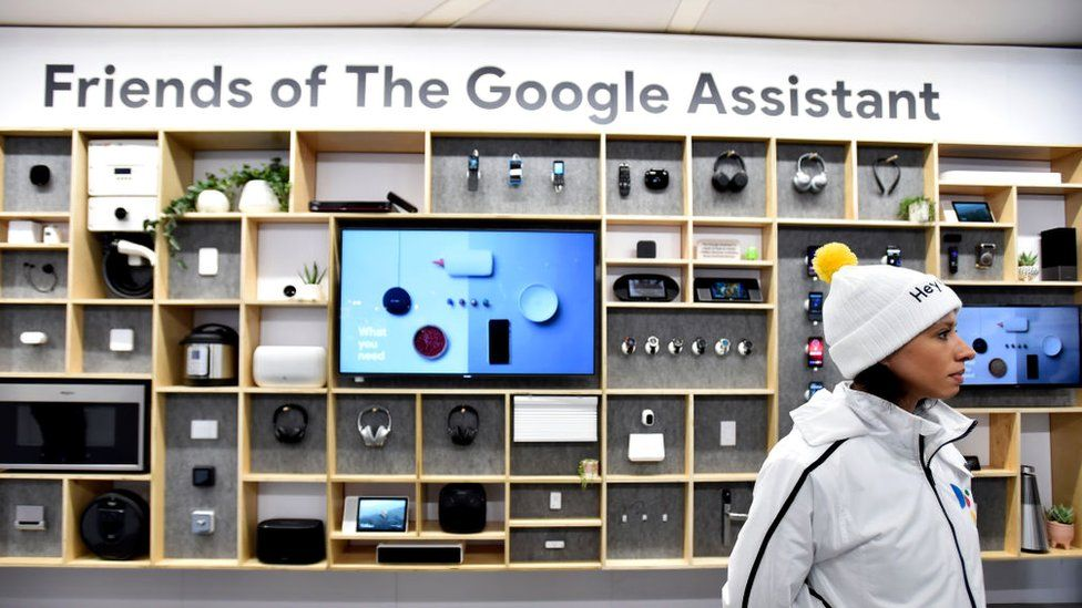 Products featuring Google Assistant on display at CES
