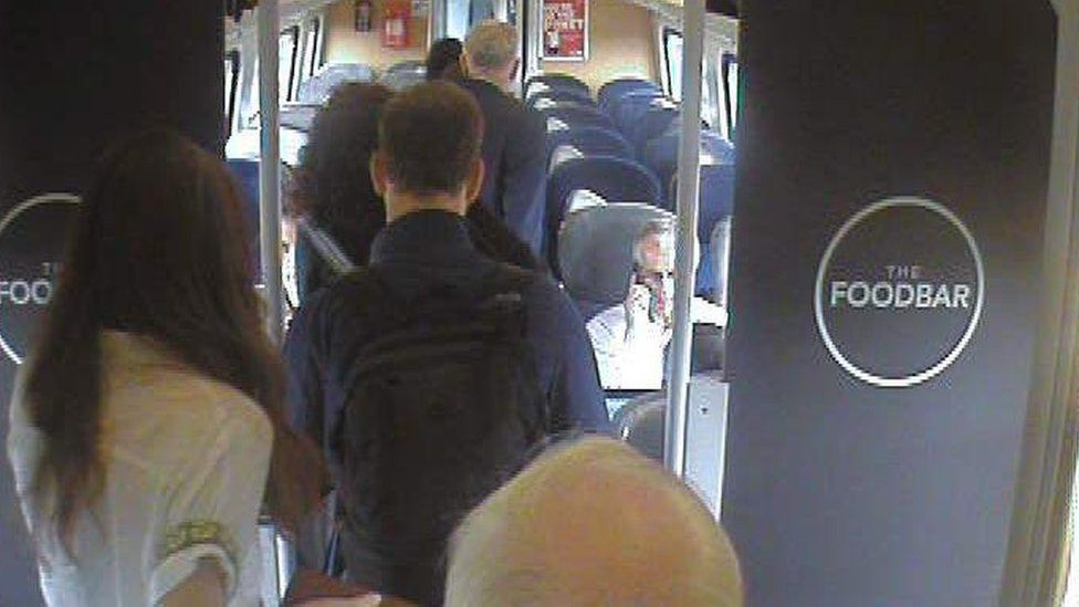 Jeremy Corbyn and his team on board a train