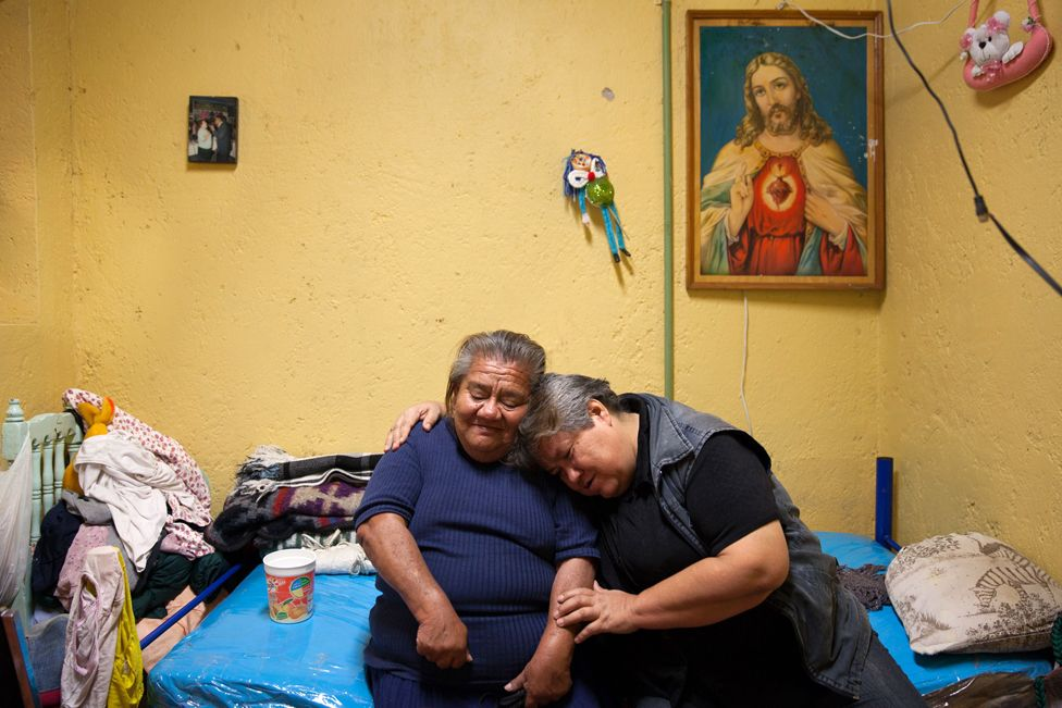 Residents of Casa Xochiquetzal hug