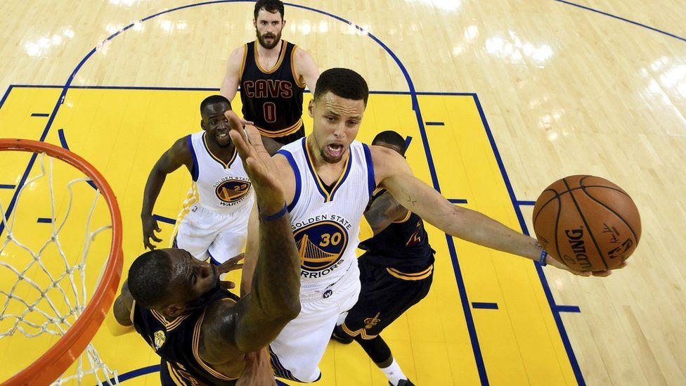 Stephen Curry is blocked