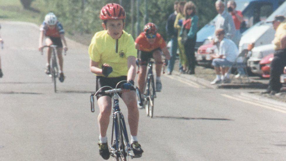 A young Geraint Thomas wins a race