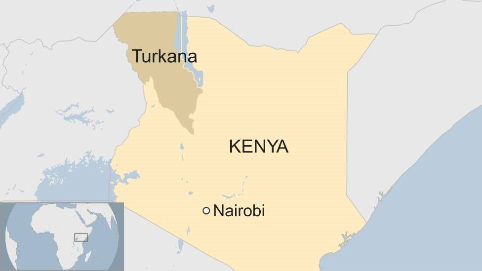 Map showing location of Turkana