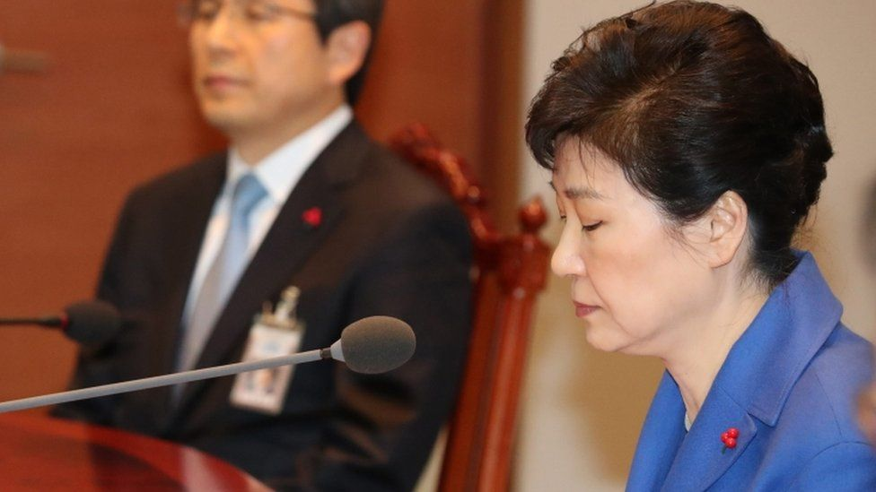 South Korean President Park Geun-hye during a cabinet meeting in Seoul, South Korea, 09 December 2016