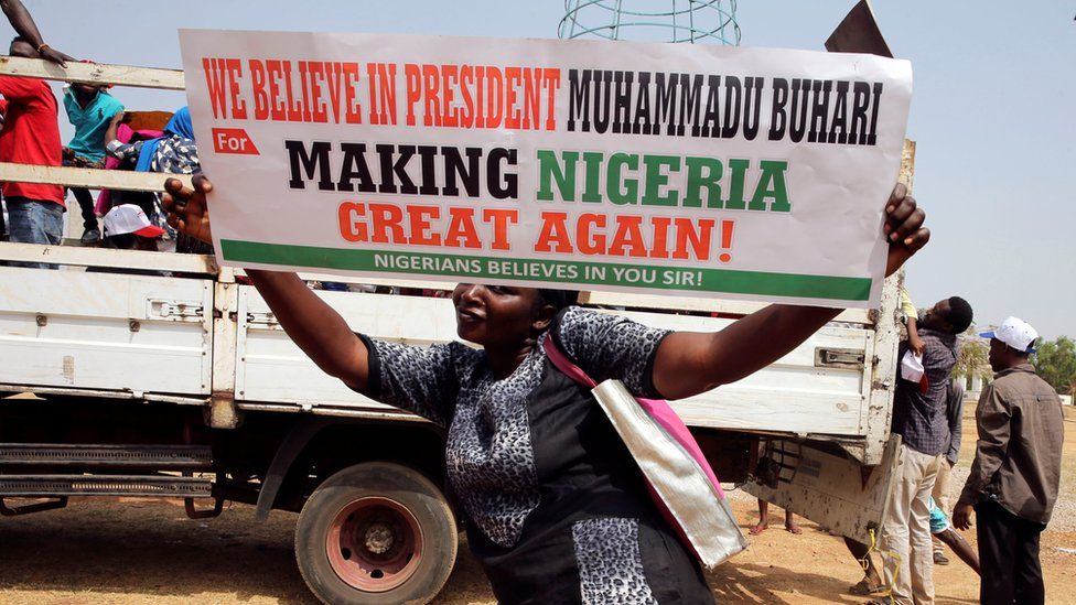 A pro-Buhari supporter at a rally in Abuja in February 2017