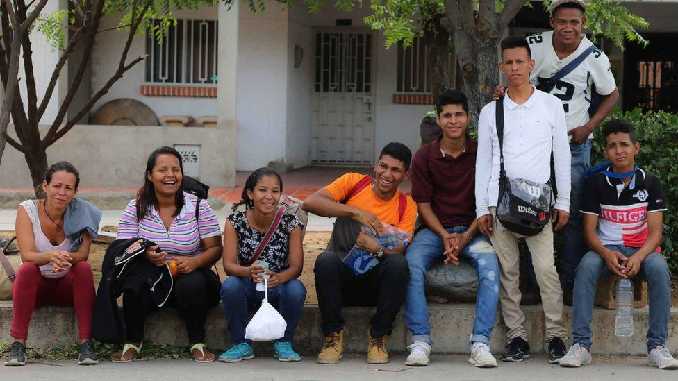 Grupo de migrantes venezuelanos
