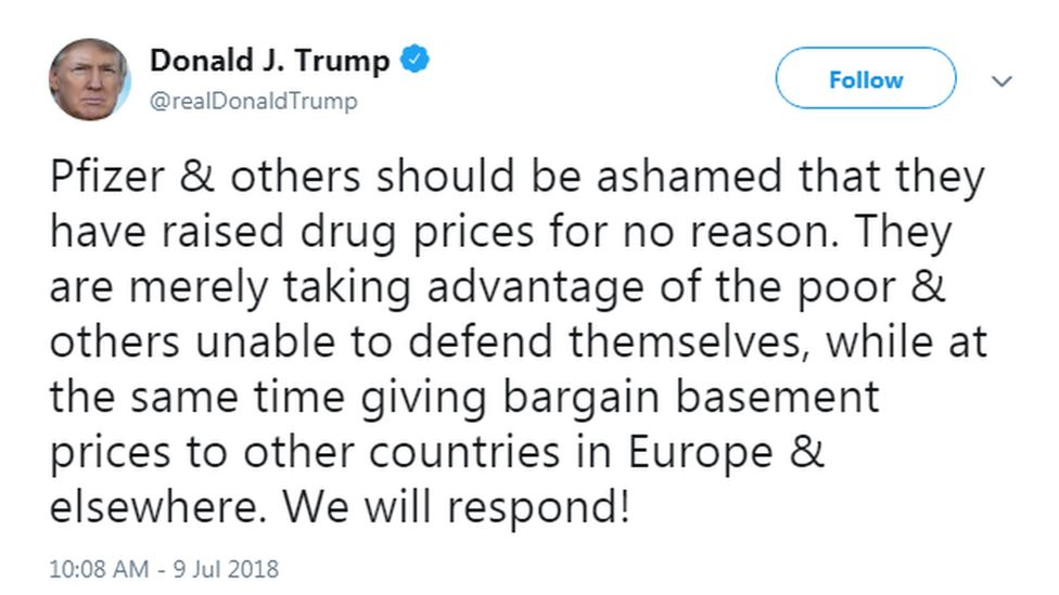 Screengrab of Donald Trump tweet about Pfizer